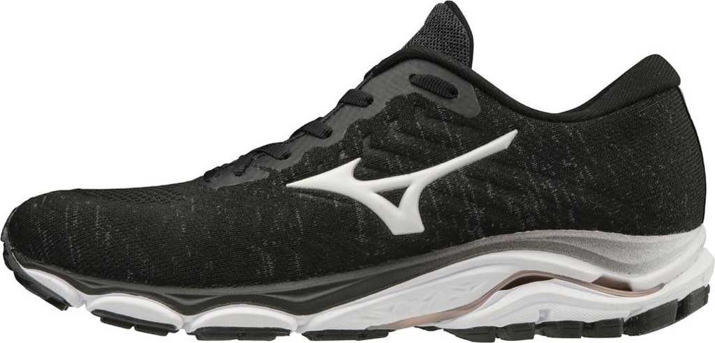 Women's Mizuno Inspire 16 WaveKnit Running Shoe, Black/White, large, image 3