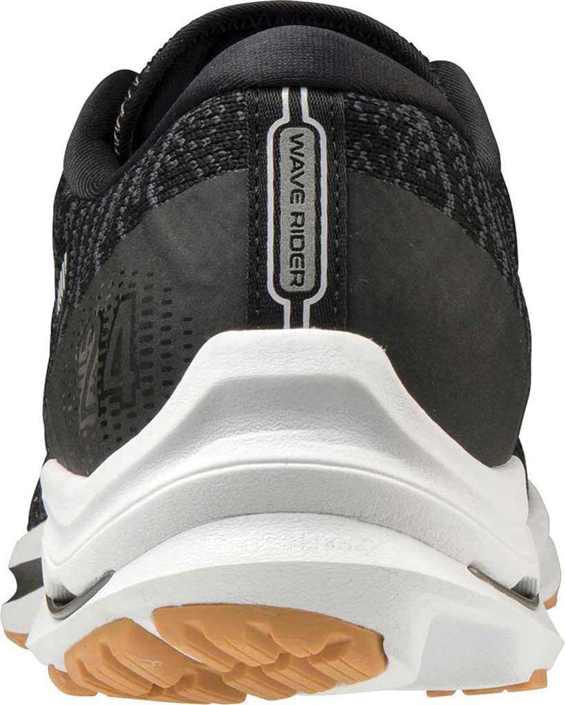 Men's Mizuno Wave Rider 24 Running Shoe, Black-Dark Shadow (Waveknit), large, image 4