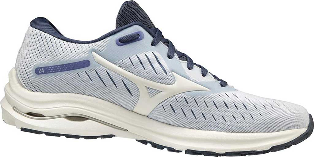 Women's Mizuno Wave Rider 24 Running Shoe, Arctic Ice-Snow White, large, image 1