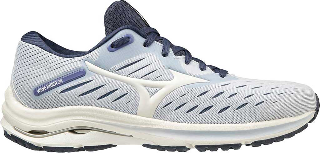 Women's Mizuno Wave Rider 24 Running Shoe, Arctic Ice-Snow White, large, image 2