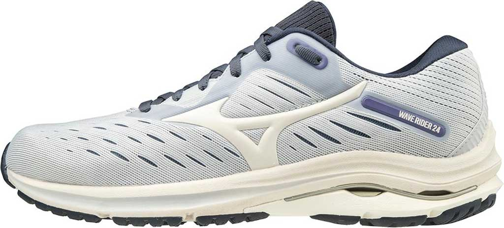 Women's Mizuno Wave Rider 24 Running Shoe, Arctic Ice-Snow White, large, image 3