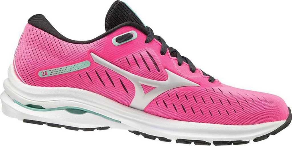 Women's Mizuno Wave Rider 24 Running Shoe, Pink Glo-Nimbus Cloud, large, image 1