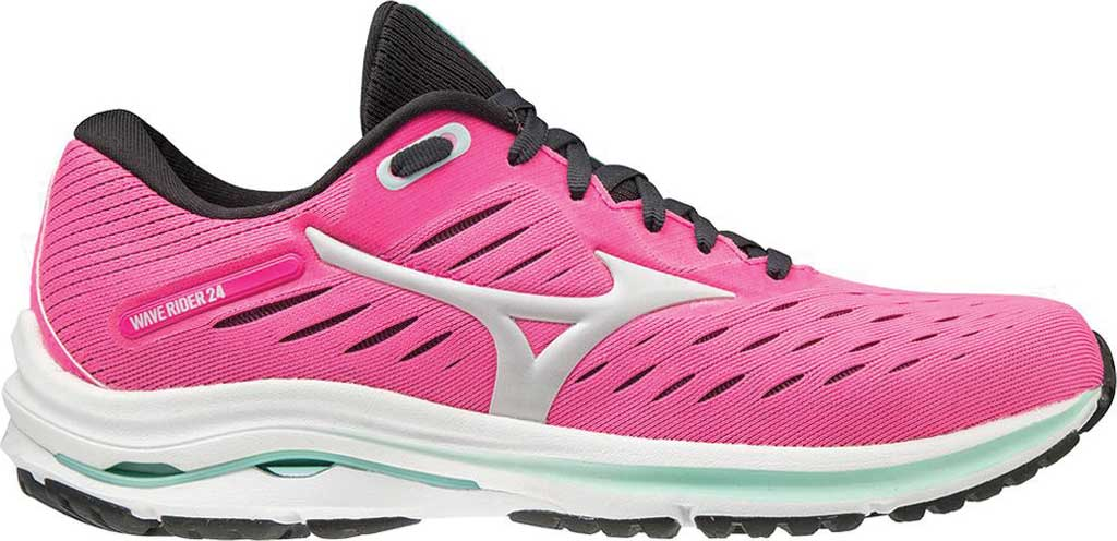 Women's Mizuno Wave Rider 24 Running Shoe, Pink Glo-Nimbus Cloud, large, image 2