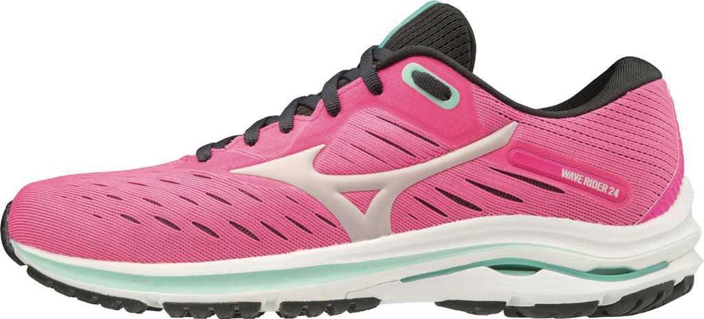 Women's Mizuno Wave Rider 24 Running Shoe, Pink Glo-Nimbus Cloud, large, image 3