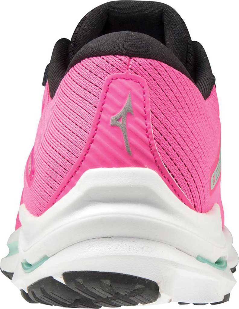 Women's Mizuno Wave Rider 24 Running Shoe, Pink Glo-Nimbus Cloud, large, image 4