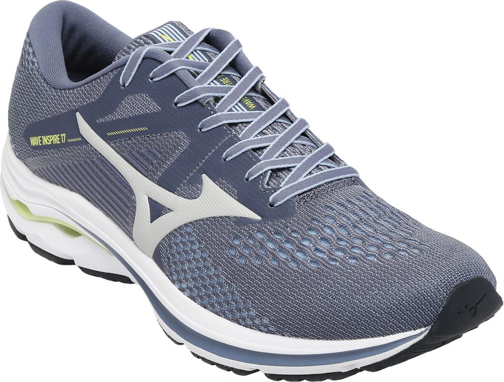 Men's Mizuno Wave Inspire 17 Running Sneaker, Folkstone Gray/Lime, large, image 1