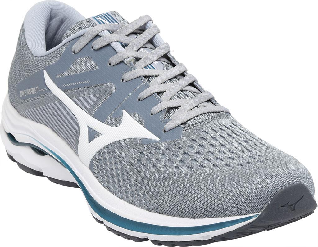 Men's Mizuno Wave Inspire 17 Running Sneaker, Sleet/White, large, image 1