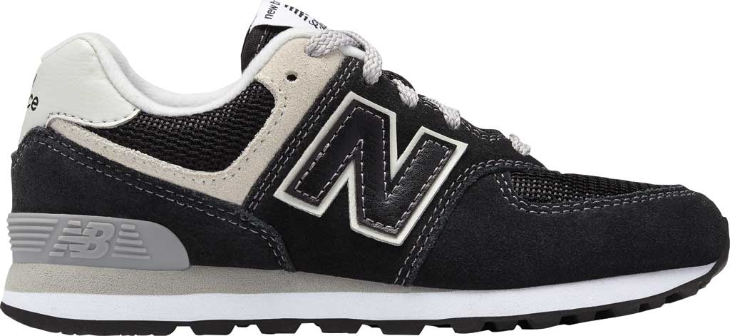 Children's New Balance 574 Sneaker - Preschool, Black/Grey, large, image 2