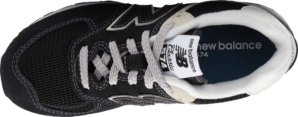 Children's New Balance 574 Sneaker - Preschool, Black/Grey, large, image 4