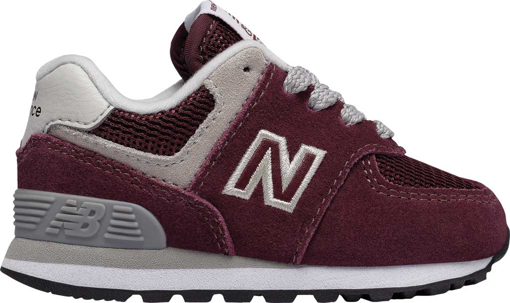 Infant New Balance 574 Sneaker, Burgundy/Grey, large, image 1