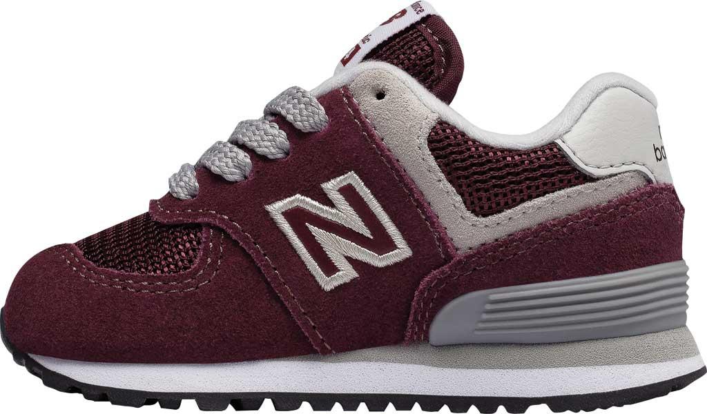 Infant New Balance 574 Sneaker, Burgundy/Grey, large, image 3