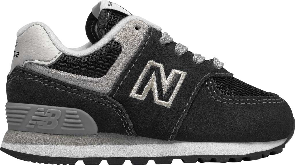 Infant New Balance 574 Sneaker, Black/Grey, large, image 2