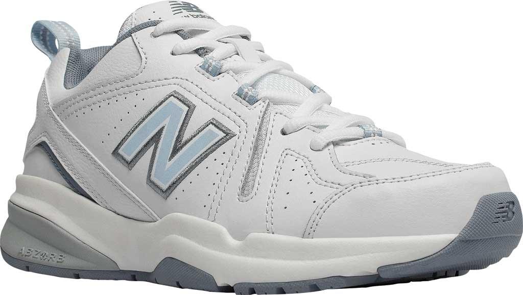 Women's New Balance 608v5 Trainer, White/Light Blue, large, image 1