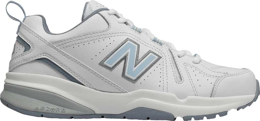 Women's New Balance 608v5 Trainer, White/Light Blue, large, image 2