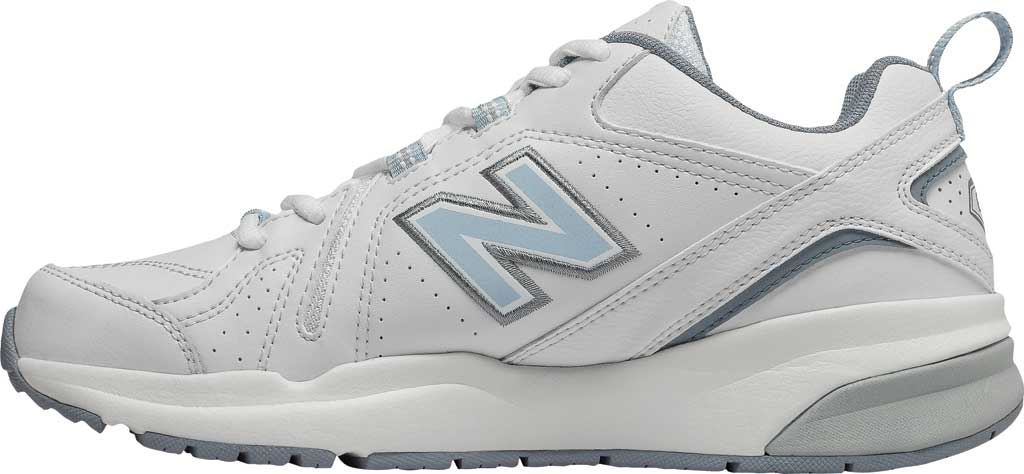 Women's New Balance 608v5 Trainer, White/Light Blue, large, image 3