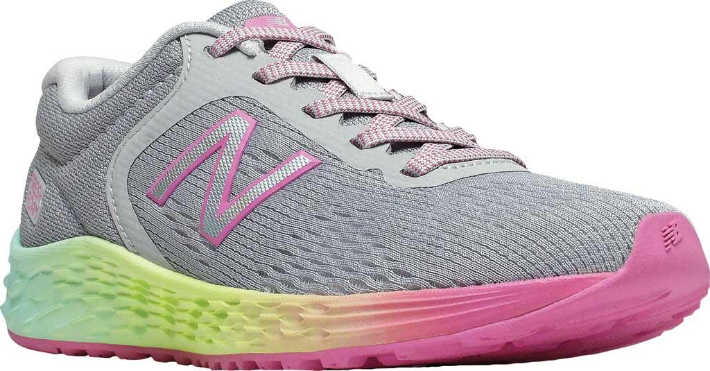 Girls' New Balance Fresh Foam Arishi v2 Running Shoe, Light Aluminum/Rainbow, large, image 1