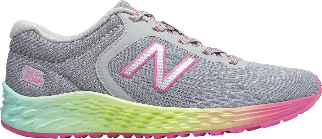 Girls' New Balance Fresh Foam Arishi v2 Running Shoe, Light Aluminum/Rainbow, large, image 2