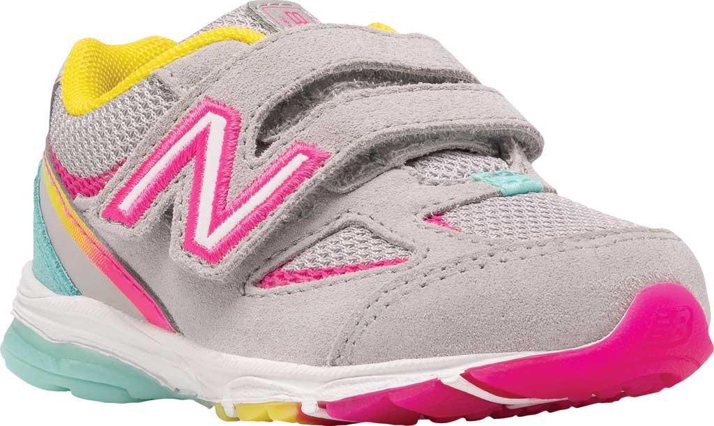 Infant Girls' New Balance 888v2 Hook and Loop Sneaker, Grey/Rainbow, large, image 1