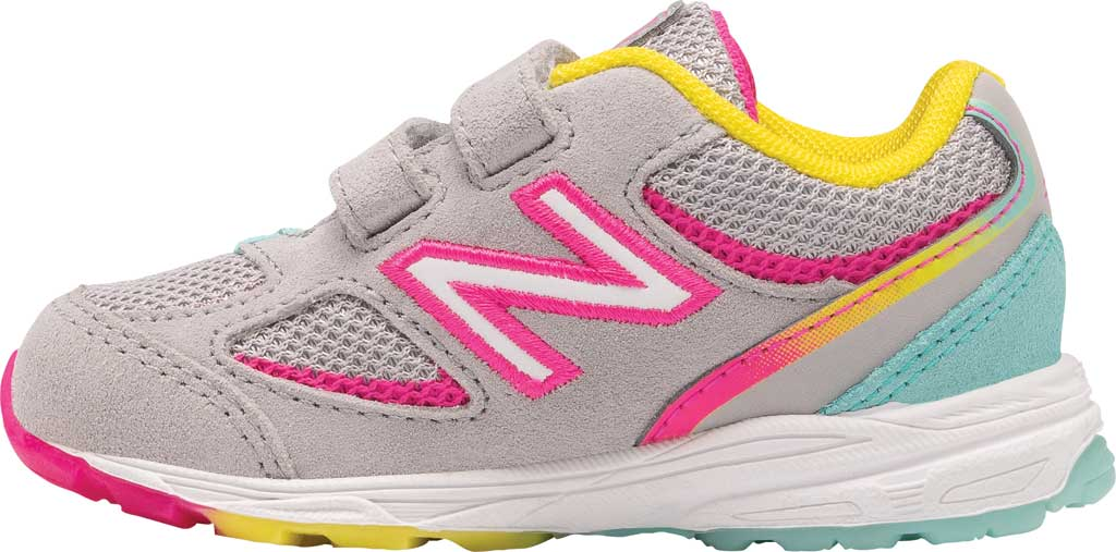 Infant Girls' New Balance 888v2 Hook and Loop Sneaker, Grey/Rainbow, large, image 3