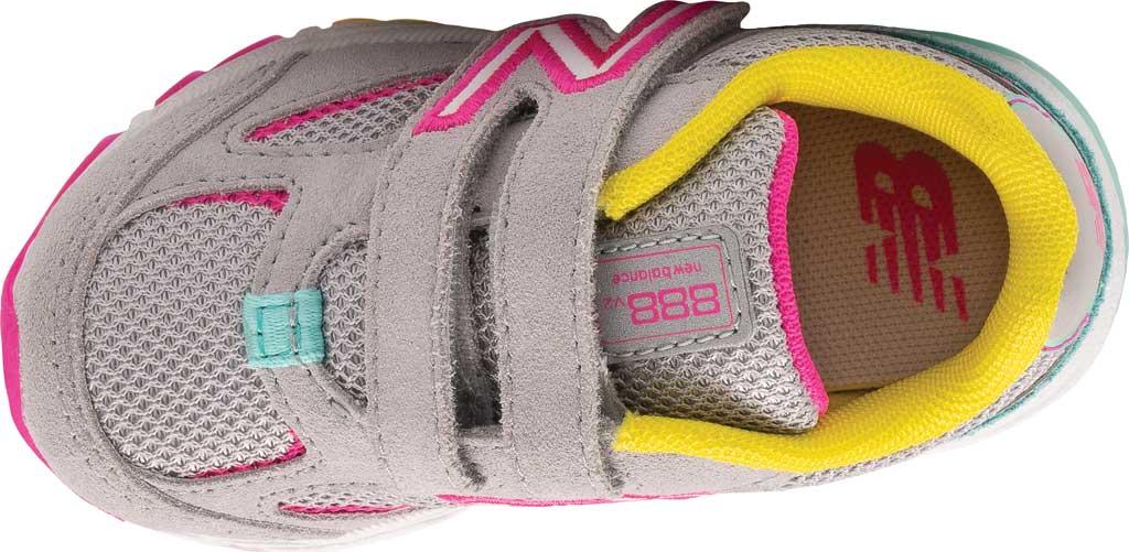 Infant Girls' New Balance 888v2 Hook and Loop Sneaker, Grey/Rainbow, large, image 4