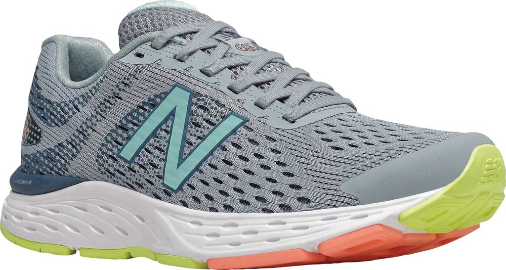 Women's New Balance 680v6 Running Shoe, Light Slate/Stone Blue/Bali Blue/Ginger Pink, large, image 1