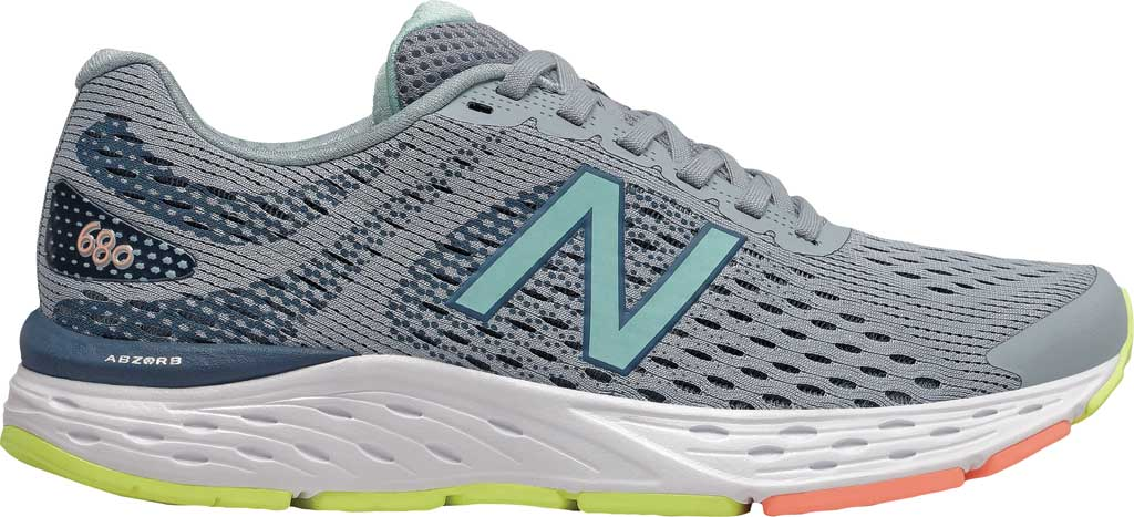 Women's New Balance 680v6 Running Shoe, Light Slate/Stone Blue/Bali Blue/Ginger Pink, large, image 2