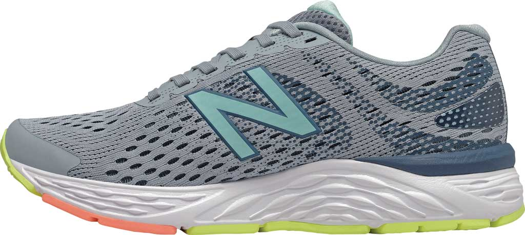 Women's New Balance 680v6 Running Shoe, Light Slate/Stone Blue/Bali Blue/Ginger Pink, large, image 3