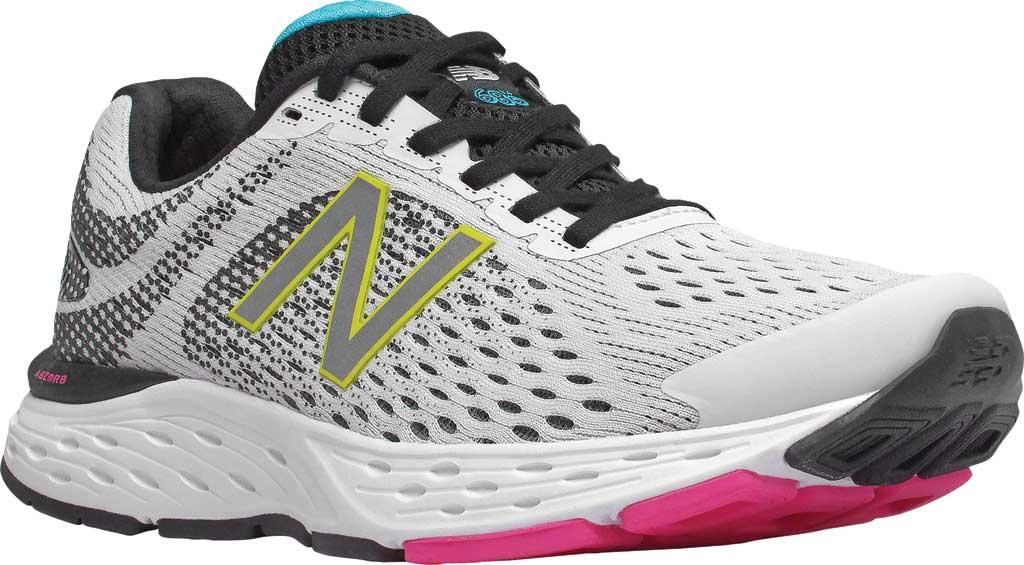 Women's New Balance 680v6 Running Shoe, White/Black, large, image 1