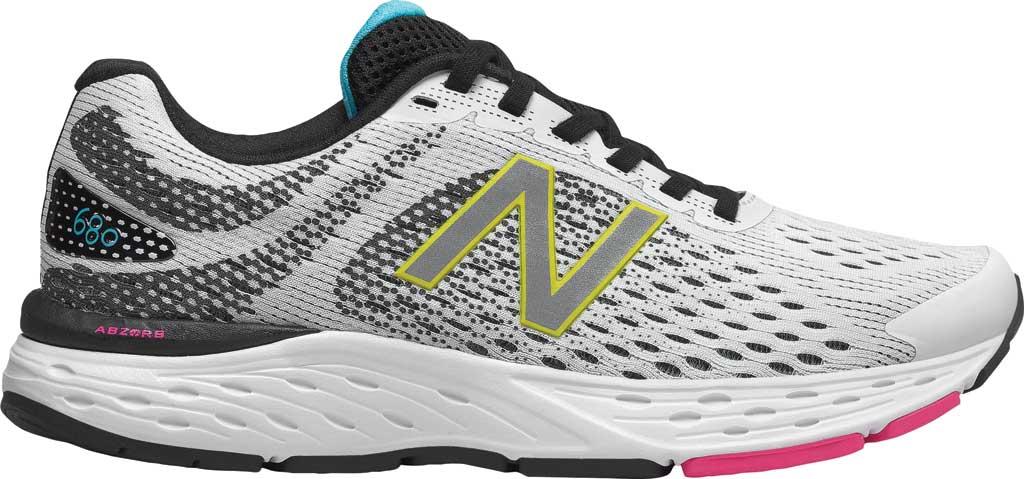Women's New Balance 680v6 Running Shoe, White/Black, large, image 2