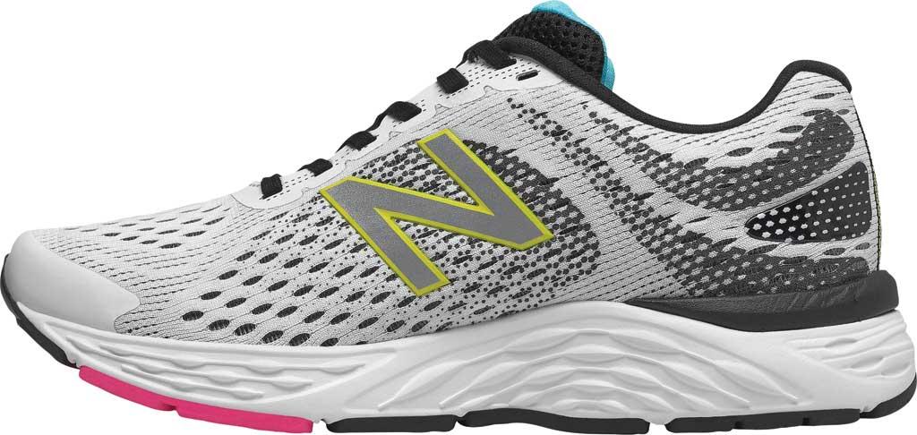 Women's New Balance 680v6 Running Shoe, White/Black, large, image 3