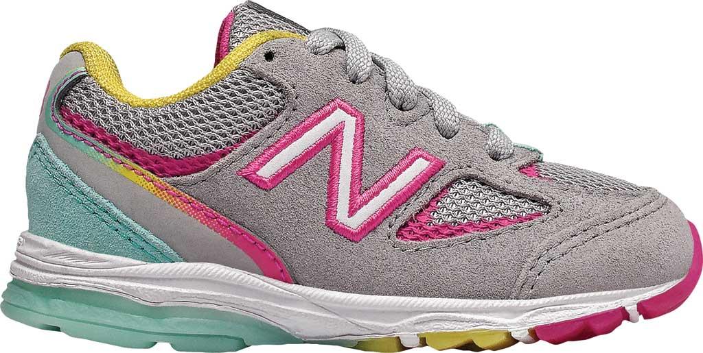 Infant Girls' New Balance 888v2 Running Shoe, Grey/Rainbow, large, image 1