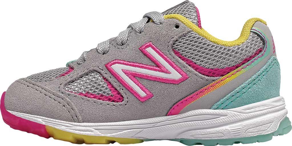 Infant Girls' New Balance 888v2 Running Shoe, Grey/Rainbow, large, image 2