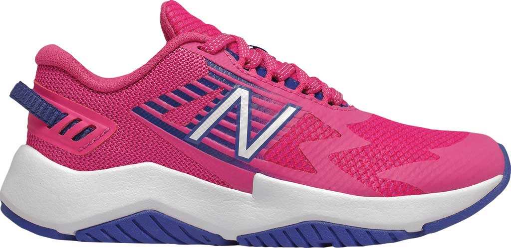 Girls' New Balance Rave Run Sneaker, Exuberant Pink/Candy Pink/Marine Blue, large, image 1