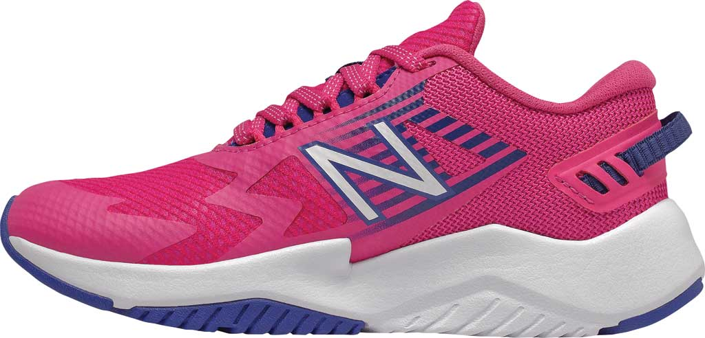 Girls' New Balance Rave Run Sneaker, Exuberant Pink/Candy Pink/Marine Blue, large, image 2