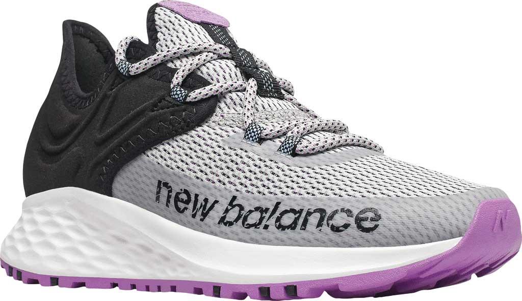Women's New Balance Fresh Foam Roav Trail Running Shoe, Light Aluminum/Black/Neo Violet, large, image 1
