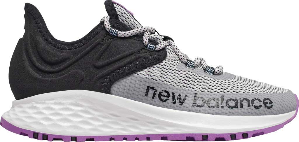 Women's New Balance Fresh Foam Roav Trail Running Shoe, Light Aluminum/Black/Neo Violet, large, image 2