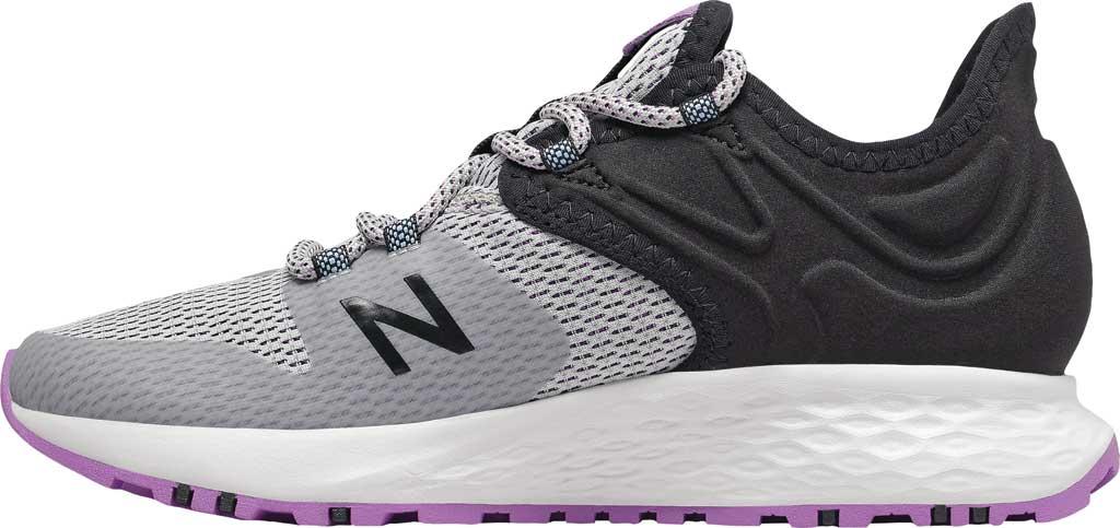 Women's New Balance Fresh Foam Roav Trail Running Shoe, Light Aluminum/Black/Neo Violet, large, image 3