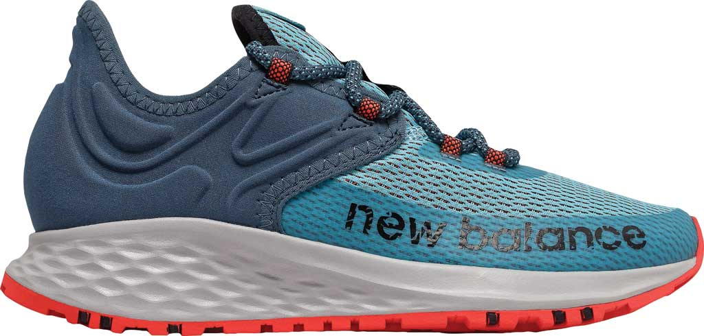 Women's New Balance Fresh Foam Roav Trail Running Shoe, Wax Blue/Stone Blue/Toro Red, large, image 2