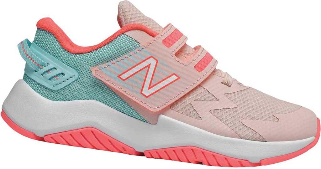 Girls' New Balance Rave Run Hook and Loop Sneaker - Preschool, Peach Soda/White, large, image 1