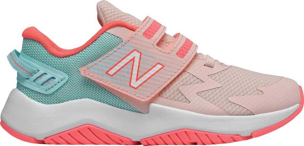 Girls' New Balance Rave Run Hook and Loop Sneaker - Preschool, Peach Soda/White, large, image 2