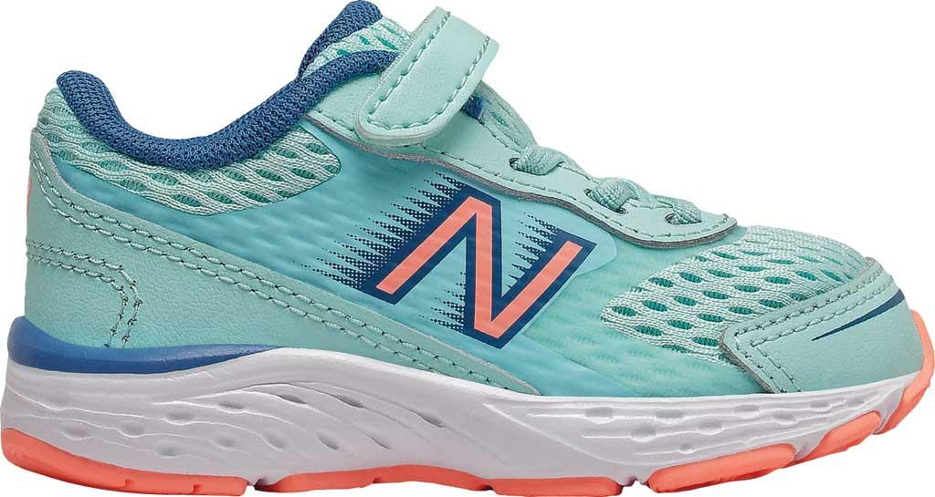 Infant New Balance 680v6 Hook and Loop Running Sneaker, Bali Blue/Mako Blue/Ginger Pink, large, image 1