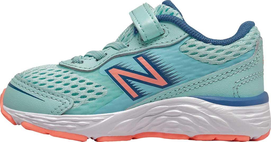 Infant New Balance 680v6 Hook and Loop Running Sneaker, Bali Blue/Mako Blue/Ginger Pink, large, image 2