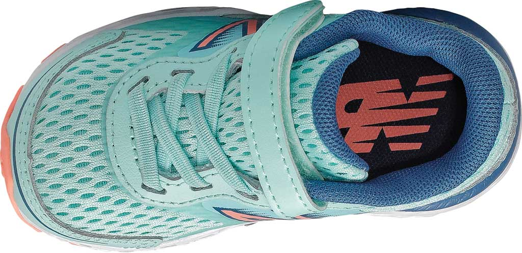 Infant New Balance 680v6 Hook and Loop Running Sneaker, Bali Blue/Mako Blue/Ginger Pink, large, image 3