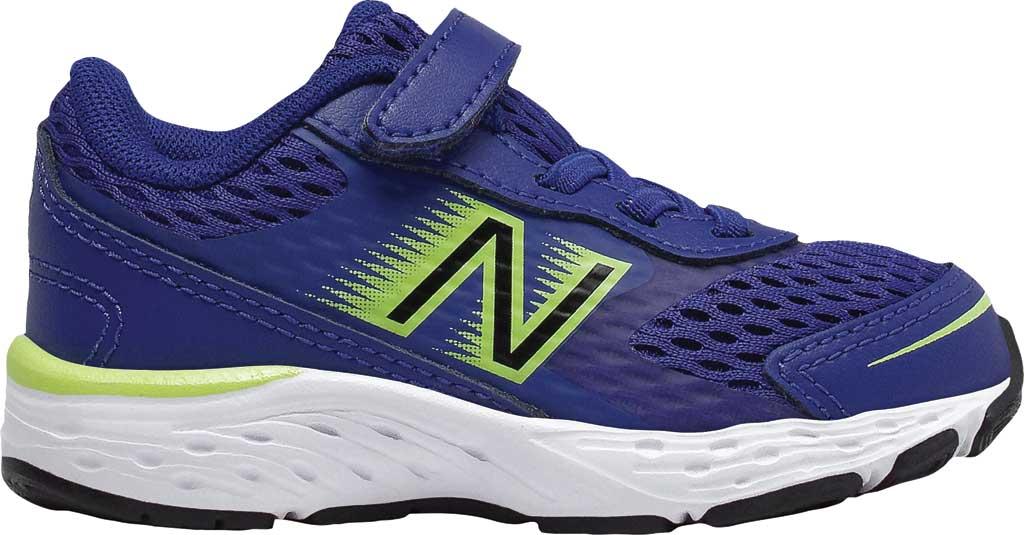 Infant New Balance 680v6 Hook and Loop Running Sneaker, Marine Blue/Lemon Slush/Black, large, image 1