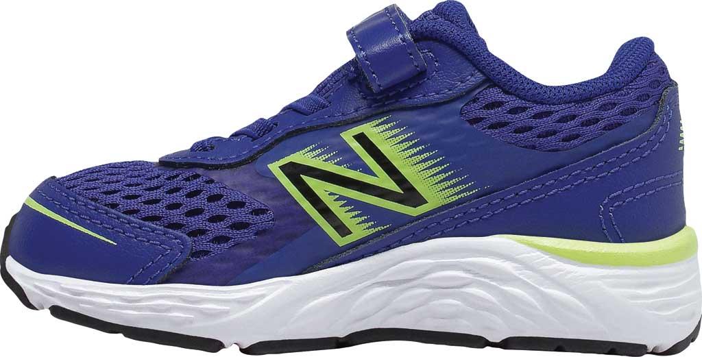 Infant New Balance 680v6 Hook and Loop Running Sneaker, Marine Blue/Lemon Slush/Black, large, image 2