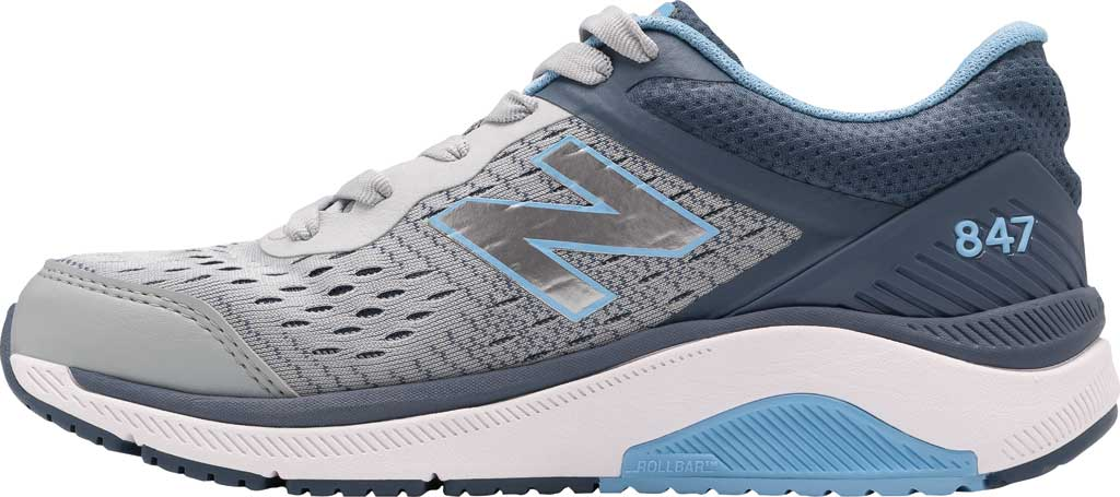 Women's New Balance 847v4 Walking Sneaker, Light Aluminum/Vintage Indigo/Team Carolina, large, image 2
