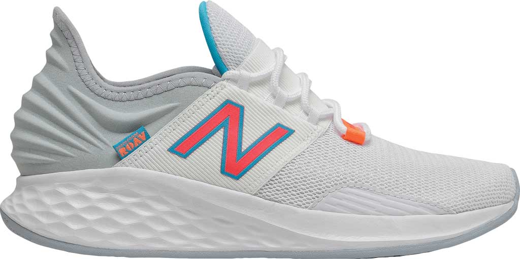 Women's New Balance Fresh Foam Roav v1 Running Shoe, White/Vivid Coral/Light Cyclone, large, image 2