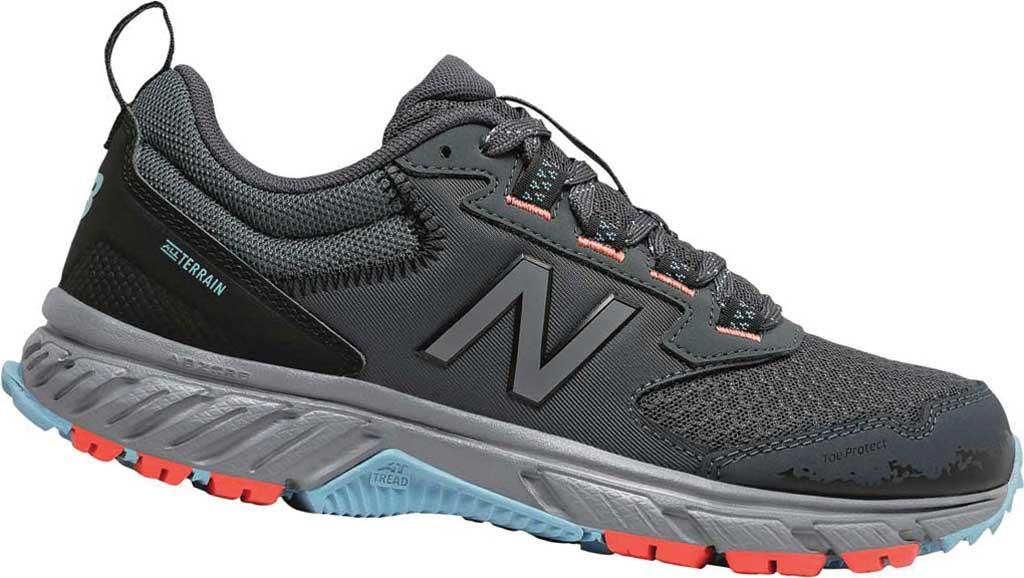 Women's New Balance 510v5 Trail Running Shoe, Gunmetal/Wax Blue/Toro Red, large, image 1