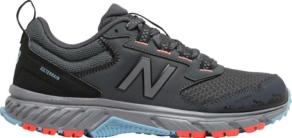 Women's New Balance 510v5 Trail Running Shoe, Gunmetal/Wax Blue/Toro Red, large, image 2
