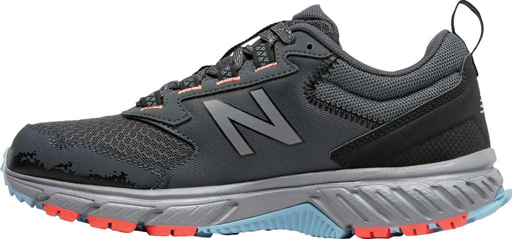 Women's New Balance 510v5 Trail Running Shoe, Gunmetal/Wax Blue/Toro Red, large, image 3